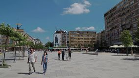 Mother Teresa street in Pristina. Pristina, Kosovo - July 29, 2014 People walking on  Mother Teresa street in the city center stock video footage