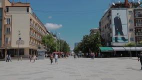 Mother Teresa street in Pristina. Pristina, Kosovo - July 29, 2014 People walking on  Mother Teresa street in the city center stock video