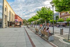 Mother Teresa street in Pristina. PRISTINA, KOSOVO - JULY 04, 2015: People walking on newly renovated Mother Teresa street in the city center royalty free stock image