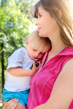 Mother and Tired Child Royalty Free Stock Photography