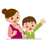 Mother to teach study to children Royalty Free Stock Images