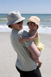 Mother and toddler at the beach Stock Photos