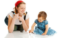 Mother and toddler drawing Stock Photography