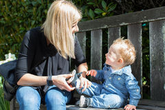 Mother and toddler in the park Stock Photography