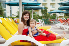 Mother with  toddler   at resort Stock Image