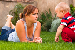 Mother with toddler serious moment Stock Photography