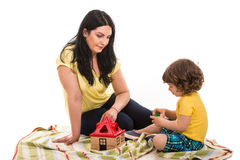 Mother and toddler son playing together Royalty Free Stock Photo