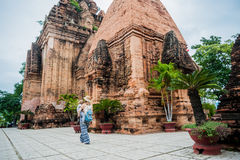 Mother and Toddler Son tourists in Vietnam. Po Nagar Cham Tovers. Asia Travel concept. Royalty Free Stock Images