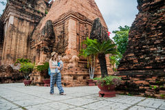Mother and Toddler Son tourists in Vietnam. Po Nagar Cham Tovers. Asia Travel concept. Journey through Vietnam Concept stock photo