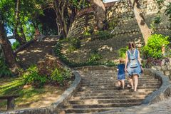 Mother and Toddler Son tourists in Vietnam. Po Nagar Cham Tovers. Asia Travel concept. Journey through Vietnam Concept stock image