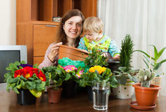 Mother with a toddler transplanting potted flowers Royalty Free Stock Images