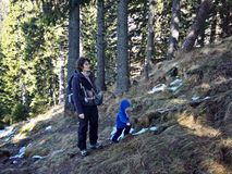 Mother and toddler trekking in the mountains Stock Photo