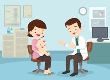 Mother took her baby to see the doctor. Family to see Doctor sitting at the table in hospital, infirmary, clinic.healthcare concept.Character professional Stock Photos