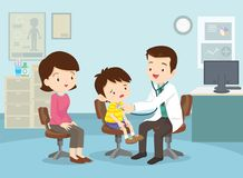 Mother took her boy to see the doctor. Mom and Boy to see Doctor sitting at the table in hospital, infirmary, clinic.healthcare concept.Character professional royalty free illustration
