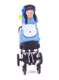 Mother tourist and baby buggy Royalty Free Stock Photos