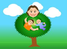 Mother tree. Vector illustration for a relationship for mother and son in tree shape Royalty Free Stock Images