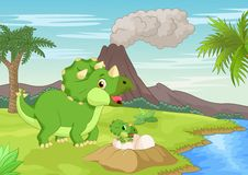 Mother triceratops with baby hatching Stock Photo