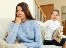 Mother tries reconciliation with his teen daughter Stock Photo