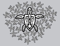 Mother turtle. Tribal style mother turtle and been borns sons Vector Illustration