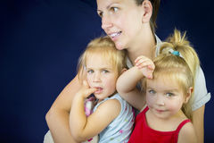 Mother and twin girls Royalty Free Stock Image