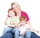 Mother and twins Royalty Free Stock Photos
