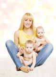 Mother and Twins Baby Family Portrait, Mom with Little Children Stock Image
