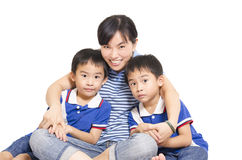Mother and twins Stock Photos
