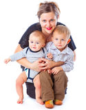 Mother and two boys Royalty Free Stock Photography