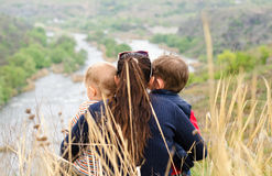 Mother with two boys enjoying a day in nature Stock Photos