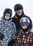 Mother with two boys skiing Stock Photography