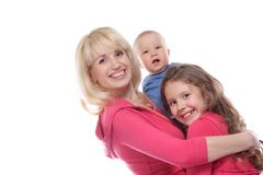 Mother and two chidren over white Stock Images