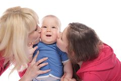 Mother and two chidren over white Royalty Free Stock Images