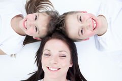 Mother with is two child, a boy and a girl Stock Photography