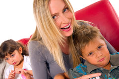 Mother with two children Stock Image
