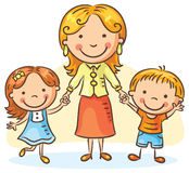 Mother with two children stock illustration