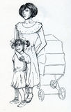 Mother with two children. Young mother with little daughter and a baby in baby carriage. Hand drawn ink sketch Stock Photos