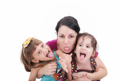 Mother and two daughter Stock Images