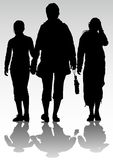 Mother and two daughters. Vector drawing mother and two daughters. Silhouettes of women Stock Image