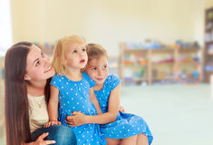 Mother with two daughters. Royalty Free Stock Photo
