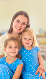 Mother with two daughters. Royalty Free Stock Photos
