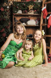 Mother with two daughters in a green dress Stock Images