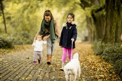 Mother and two girls walking with dog in the autumn park royalty free stock photos
