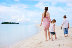 Mother and two kids on beach Stock Photography