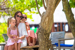 Mother and two kids at summer vacation in exotic Stock Photos