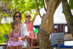 Mother and two kids at summer vacation in exotic Royalty Free Stock Photos