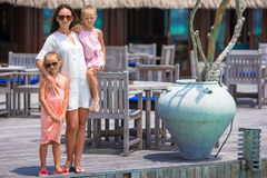 Mother and two kids at summer vacation in exotic Royalty Free Stock Image