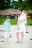 Mother and two kind outdoors Stock Photography
