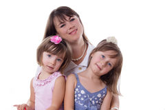 Mother with two little daughters Stock Photos