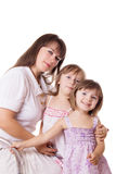 Mother with two little daughters Royalty Free Stock Photo