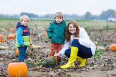 Mother and two little sons having fun on pumpkin patch. Stock Photography